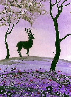 """ACEO Original """"The Stag - Purple Harmony"""" Painting by Hélène Howse"""