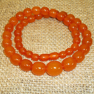 Natural Baltic Egg Yolk Amber Necklace 41gr Genuine Round Beads Butterscotch 104