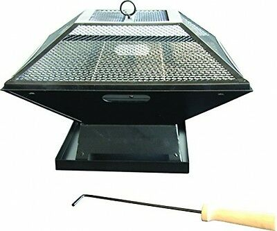 Portable Square Fire Pit Grill Garden Outdoor Burner Camping Bbq Bowl Cooker