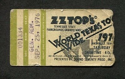 1976 ZZ Top The Band Concert Ticket Stub Nashville World Wide Tour Texas Tejas