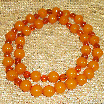 Genuine Baltic Amber Necklace Round Beads Butterscotch Egg Yolk 55gr Natural 105