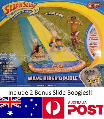 Wham-O Double 2 Lanes Wave Rider Water Slides Slip & Slide + 2 Boogies Boards