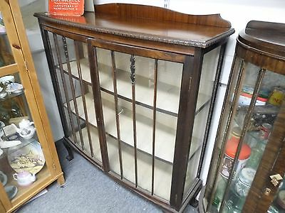 Large Antique Glass display cabinet with claw and ball feet