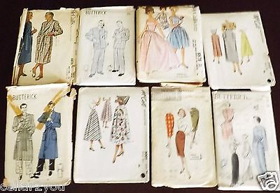 8 Vintage Sewing Patterns Dresses Skirts Pajamas Mens Womens Retro 60s Lot