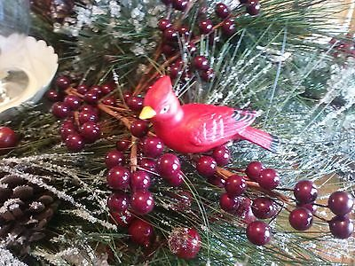 VTG. Clip On Bird CARDINAL Bisque Figurine Bird Cage Christmas Ornament JAPAN