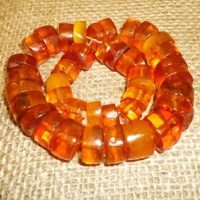 53gr! Genuine Baltic Necklace Egg Yolk Amber Round Beads, Vintage Very Nice, 111