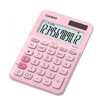 CASIO MS-20NC MS-20NC Pink Desktop Dual Power Source Basic Calculator