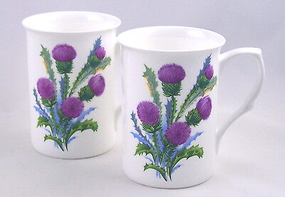 Pair Fine Bone China Mugs - Thistle Spray Chintz By Adderley - Made In England