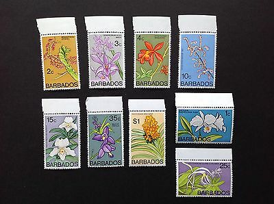 Barbados 1974 Orchids 9 Different Stamps MNH !!