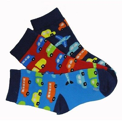 Bnwt 3 Pairs Boys Socks Vehicles 3-5 1/2, 1-2 Years Red/blue/navy Cotton Rich