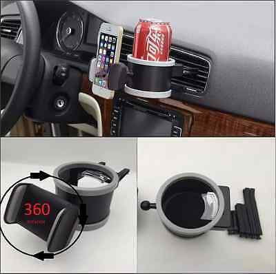 2in1 360° Rotation Universal Car Air Vent Phone Mount Holder+Bottle Cup Holder