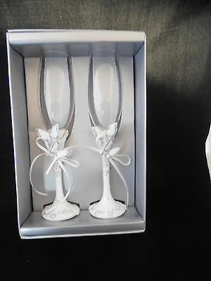 wedding glasses flutes champagne anniversary engagement butterfly