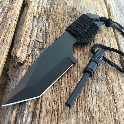 "7"" FULL TANG FIRE STARTER SURVIVAL HUNTING CAMPING KNIFE w/ FLINT 210832"