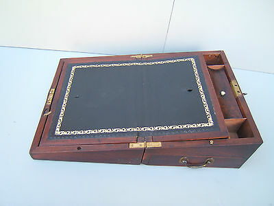 vintage Mahogany writing slope side drawer brass handles VGC with key