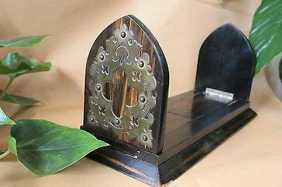 Antique Book Slide, Shelf top book case. Dark wood & Brass