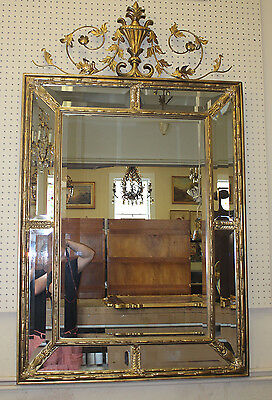Very Large Gilt Carved Wood Beveled Glass Friedman Bros Adams Style Mirror MINT