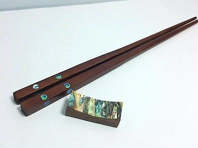 Red Wood Chopsticks With Abalone Shell Chopsticks Rest 10 '' #