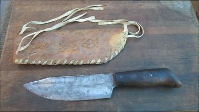 Old Antique Indian Fur Trade Butcher Hunting Knife w/Rawhide Parfleche Sheath
