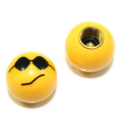 2 Custom Yellow Cool Smiley Face Air Wheel Tire Valve Caps for Bike-Motorcycle