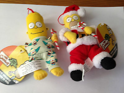 The Simpsons Soft Toy Christmas Tree Hangers Decorations, Set of 2, NEW