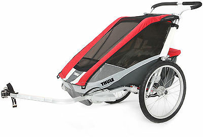 Thule - Cougar 2 Child Carrier - Red/Silver/Grey - Kid/Toddler Trailer For Bikes