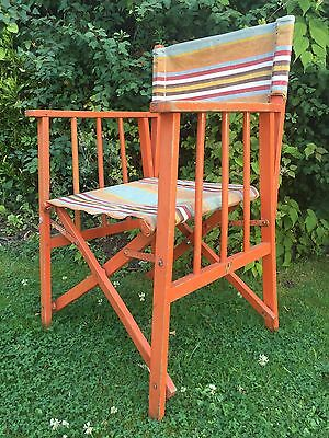 Vintage Directors Chair Deck Folding Sun Stripe Hand Painted 1940's 50's Strong