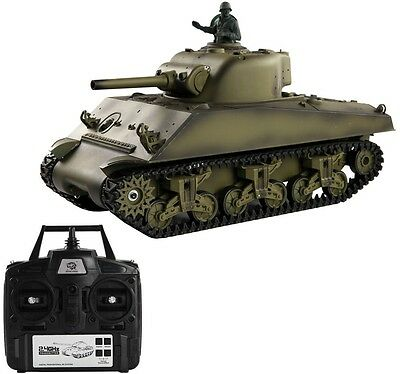 1:16 2.4G US M4A3 Sherman RC Tank w/ Smoke and Sound Radio Remote Control Toys