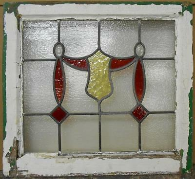 "OLD ENGLISH LEADED STAINED GLASS WINDOW Shield Droop Design 21.25"" x 19.5"""
