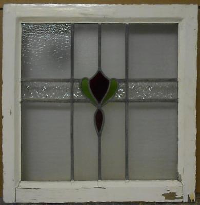 "MID SIZED OLD ENGLISH LEADED STAINED GLASS WINDOW Sweet Floral 21.5"" x 22"""