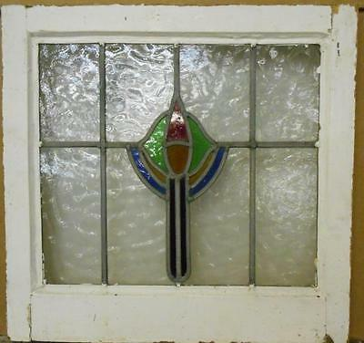 "OLD ENGLISH LEADED STAINED GLASS WINDOW Abstract Floral 18.5"" x 17.75"""