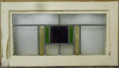"MID SIZED OLD ENGLISH LEADED STAINED GLASS WINDOW Nice Geometric 23.5"" x 13.25"""