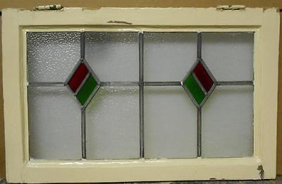 "MID SIZED OLD ENGLISH LEADED STAINED GLASS WINDOW Double Diamond 25.25"" x 16"""