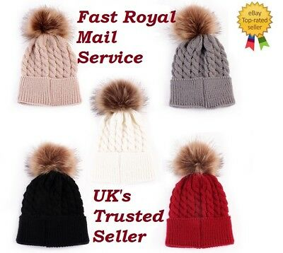 Kids & Baby Knitted Twist Winter Warm Hat Cap With Fur Pom Boys And Girls