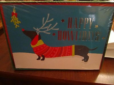 Happy Howlidays!  Dachshund Christmas Weiner Dog Cards NEW in Package - 18 Cards