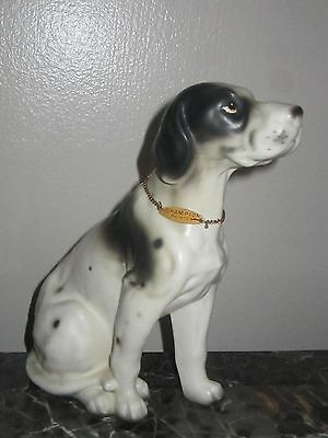 "Vintage Erich Stauffer 7"" Champion Pointer Black & White Dog Figurine 8326"