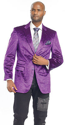 Mens Blazer Velvet Purple Plum Paisley Sports Jacket J12 Fashion ...