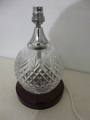Stunning Galway Cut Glass Crystal Table Lamp On Wooden Stand # Mint