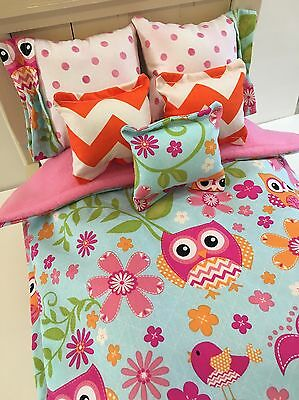 American Girl Inspired 18 Inch Doll Bedding Pink Owls 6 Piece Comforter Set
