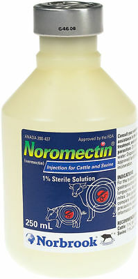 Noromectin Ivermectin Injection Control of  Parasites in Cattle & Swine 250 ML