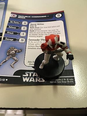 Star Wars Miniatures Republic Commando Boss 33/60 With Card Free Shipping