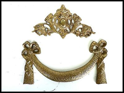 2 Vintage Brass Pediment Wall Garden Decoration Door Decor Architectural