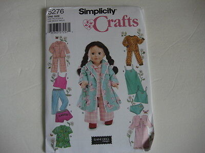New Simplicity 5276 Pattern 18 inch Doll clothes American Girl PJs pants robe