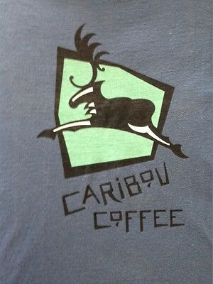 Caribou Coffee NEW original logo t-shirt, steel blue, size Large.