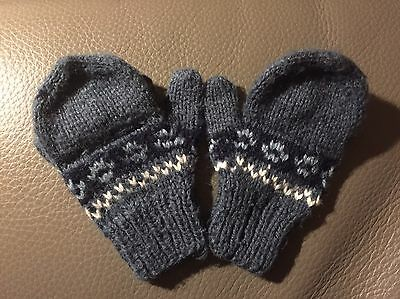 Boutique Hand Knit Wool Gloves, Size 2-4