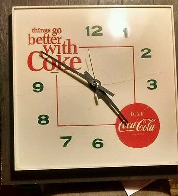 Vintage 1960s Coca Cola Square Wall Clock ' things go better with Coke' Retro