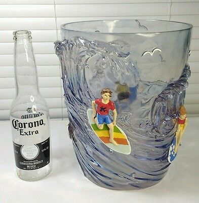RARE And UNIQUE!! Dean Miller Acrylic Surfer Tiki Bar ICE BUCKET Surfboard Waves