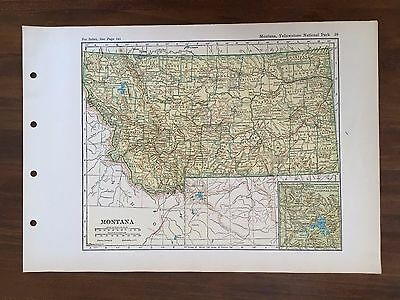 Vintage 1928 Original Map of the State of Montana Winston Atlas of the World