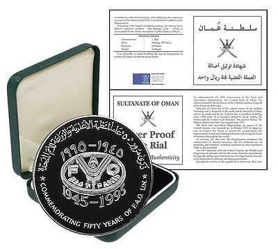 Oman 1 Rial,10 g Silver Proof Coin,1995,KM # 65,Mint,Commemorating 50 Years FAO