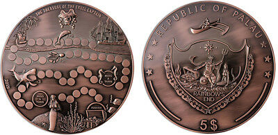 Palau 5 Dollars, 1.6 lb. Copper Coin, 2015, Mint, Treasure Game