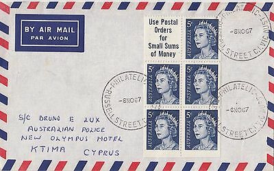 Stamps Australia 5c blue QE2 booklet pane on airmail cover to Cyprus, scarce